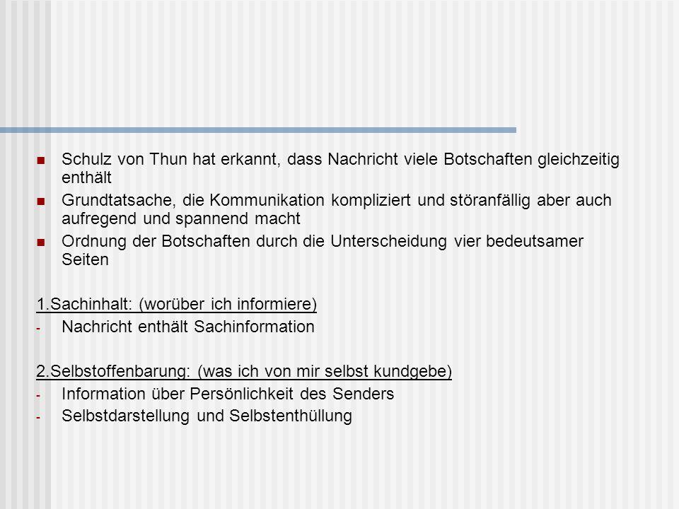 Schulz von Thun hat erkannt, dass Nachricht viele Botschaften gleichzeitig enthält