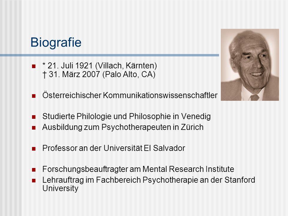 Biografie * 21. Juli 1921 (Villach, Kärnten) † 31. März 2007 (Palo Alto, CA) Österreichischer Kommunikationswissenschaftler.