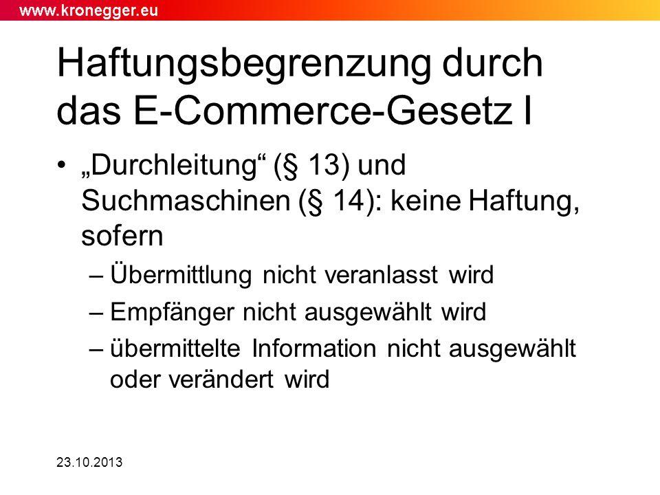 Haftungsbegrenzung durch das E-Commerce-Gesetz I