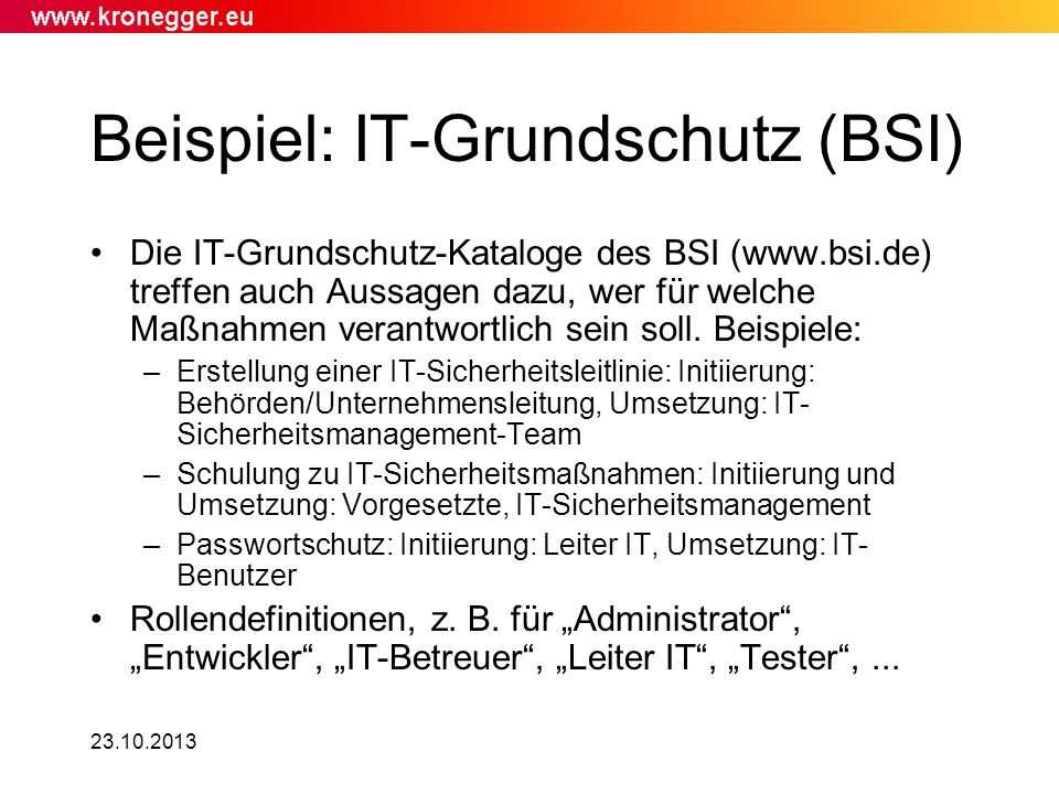Beispiel: IT-Grundschutz (BSI)