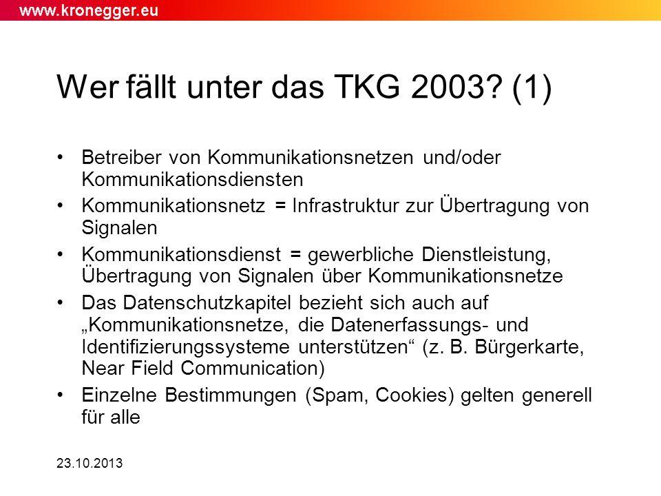 Wer fällt unter das TKG 2003 (1)