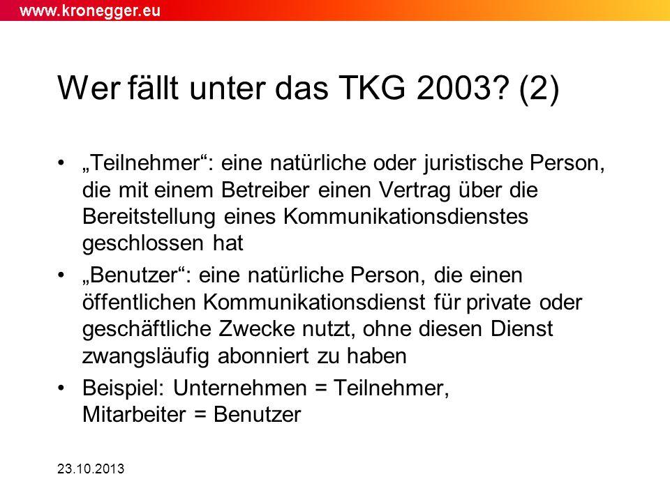 Wer fällt unter das TKG 2003 (2)