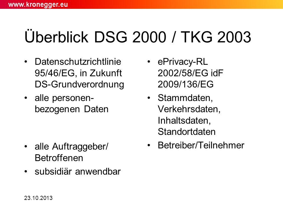 Überblick DSG 2000 / TKG 2003 Datenschutzrichtlinie 95/46/EG, in Zukunft DS-Grundverordnung. alle personen- bezogenen Daten.