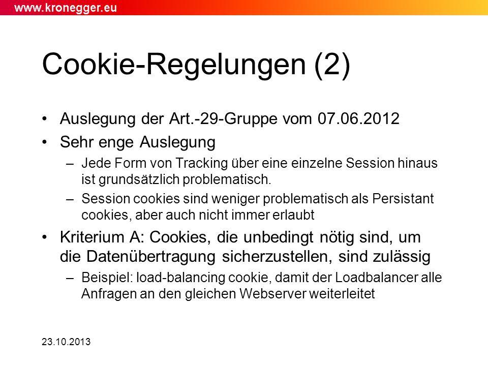 Cookie-Regelungen (2) Auslegung der Art.-29-Gruppe vom 07.06.2012