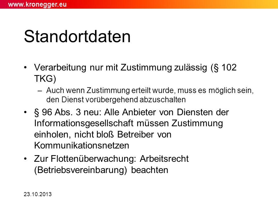 Standortdaten Verarbeitung nur mit Zustimmung zulässig (§ 102 TKG)