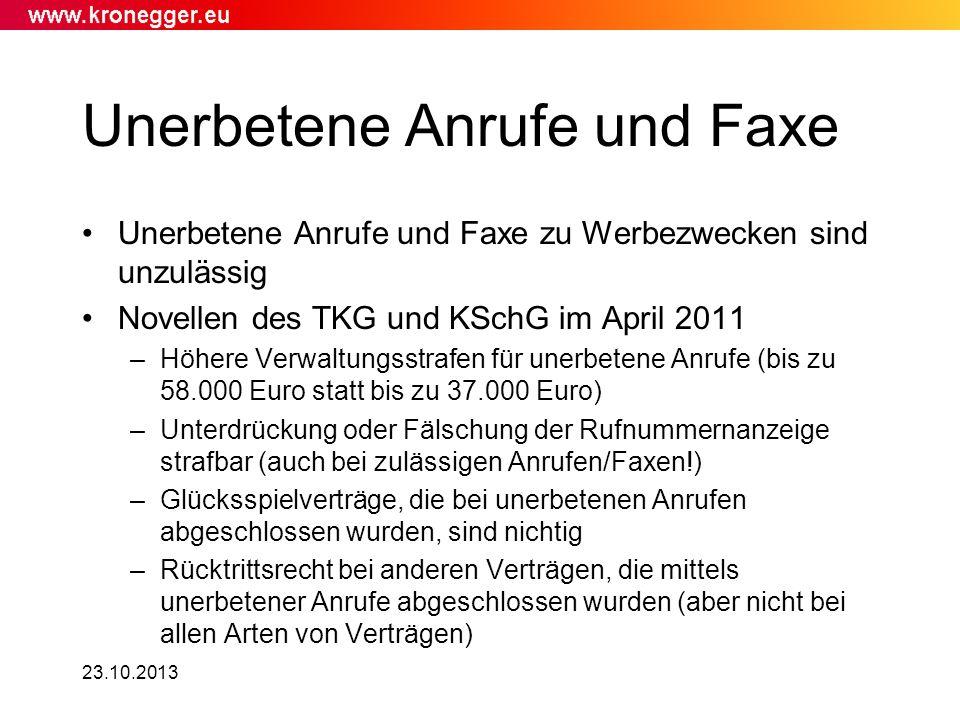 Unerbetene Anrufe und Faxe