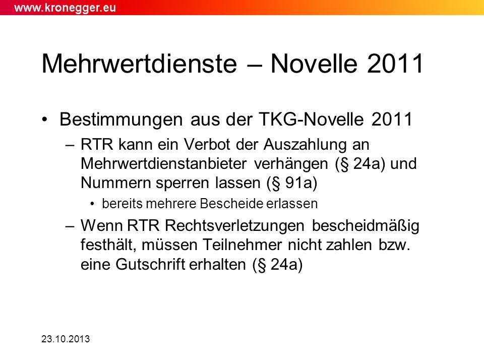 Mehrwertdienste – Novelle 2011