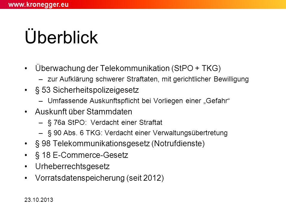 Überblick Überwachung der Telekommunikation (StPO + TKG)