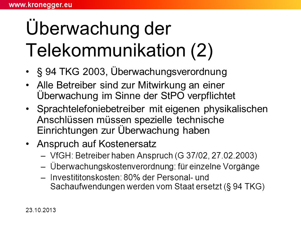Überwachung der Telekommunikation (2)