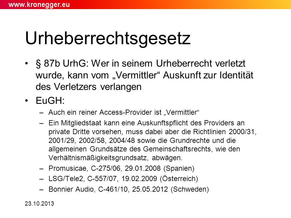 """Urheberrechtsgesetz § 87b UrhG: Wer in seinem Urheberrecht verletzt wurde, kann vom """"Vermittler Auskunft zur Identität des Verletzers verlangen."""