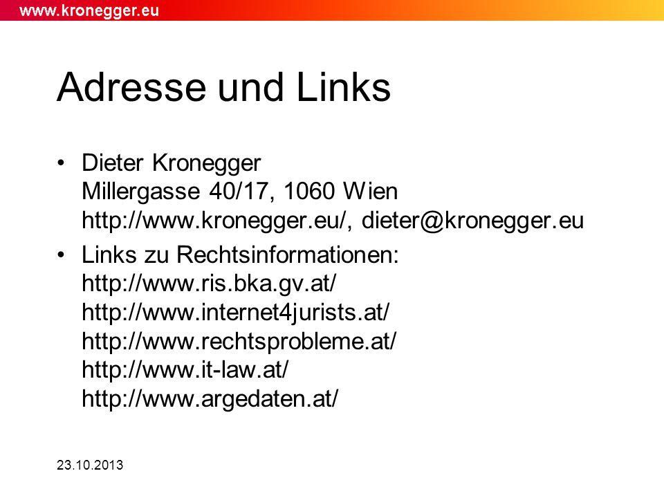 Adresse und Links Dieter Kronegger Millergasse 40/17, 1060 Wien http://www.kronegger.eu/, dieter@kronegger.eu.