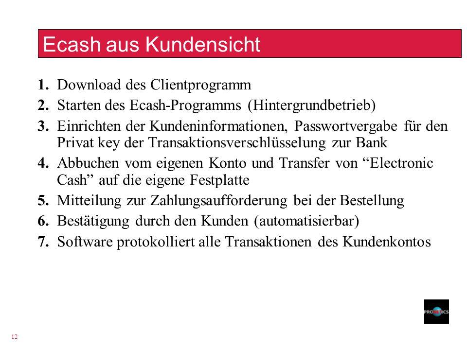 Ecash aus Kundensicht 1. Download des Clientprogramm