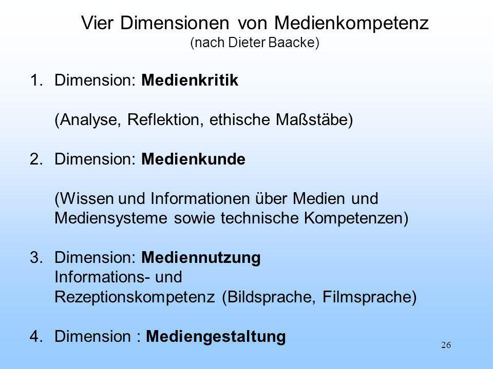 Vier Dimensionen von Medienkompetenz