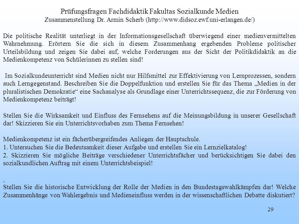 Prüfungsfragen Fachdidaktik Fakultas Sozialkunde Medien