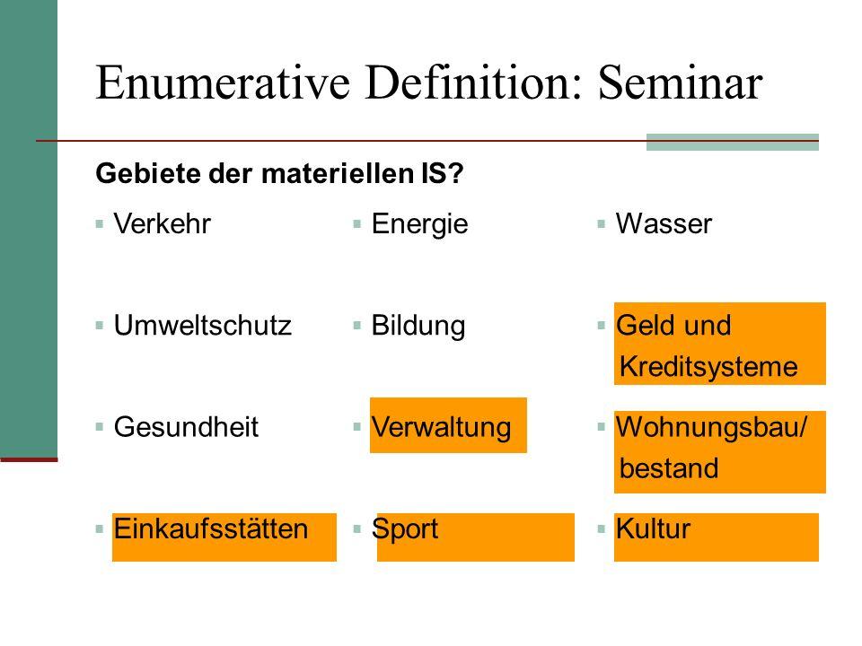 Enumerative Definition: Seminar