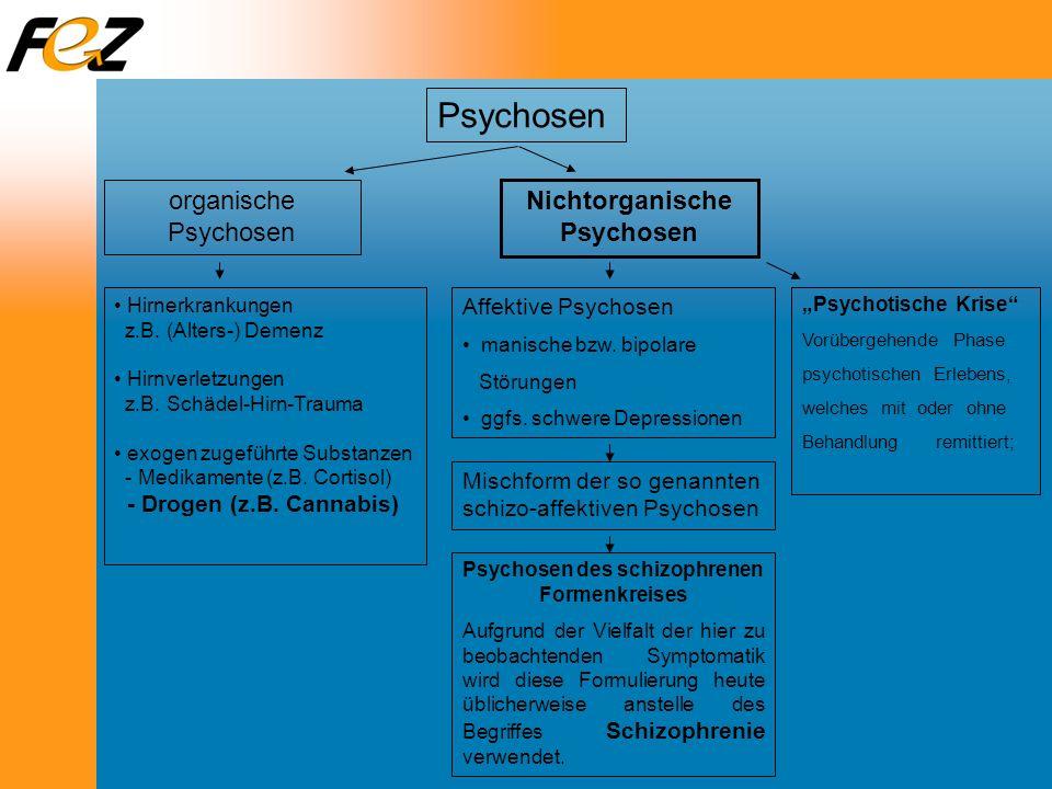 Nichtorganische Psychosen Psychosen des schizophrenen Formenkreises