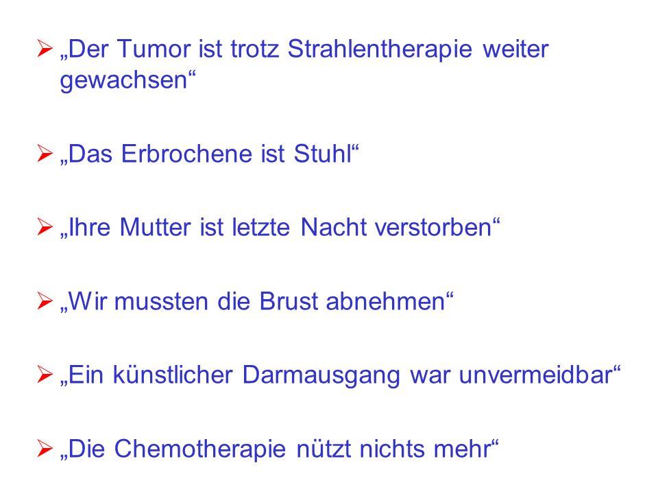 """""""Der Tumor ist trotz Strahlentherapie weiter gewachsen"""