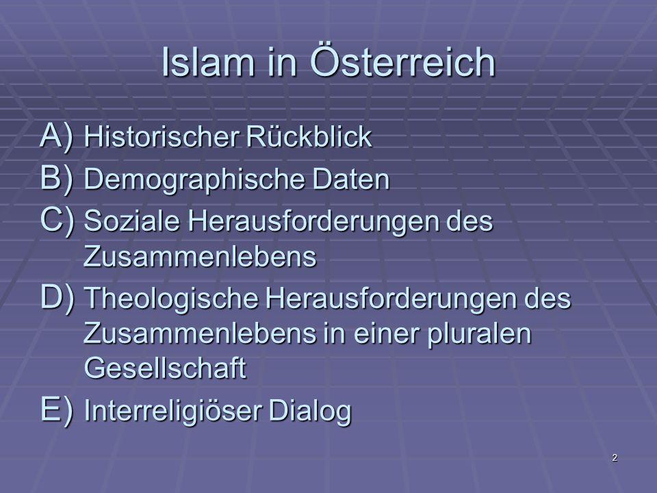 Islam in Österreich Historischer Rückblick Demographische Daten