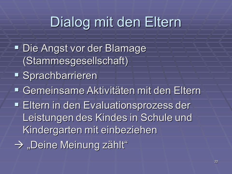Dialog mit den Eltern Die Angst vor der Blamage (Stammesgesellschaft)