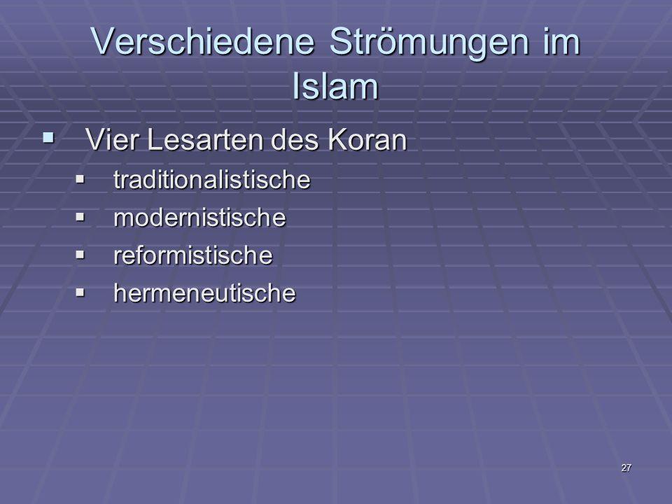 Verschiedene Strömungen im Islam