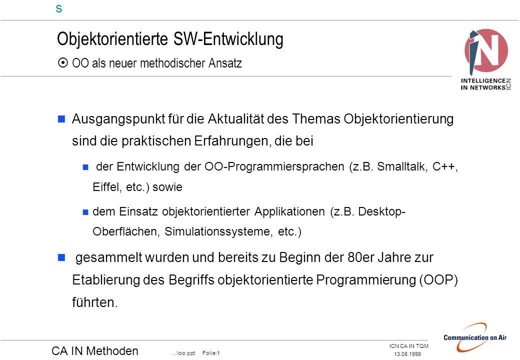 Objektorientierte SW-Entwicklung  OO als neuer methodischer Ansatz