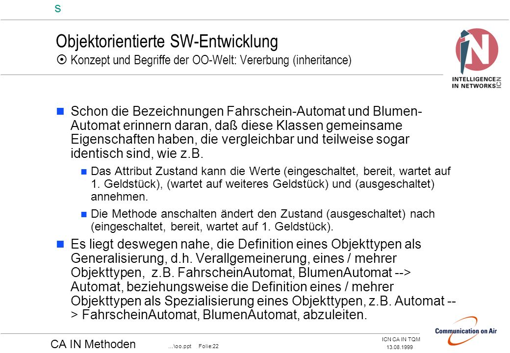 Objektorientierte SW-Entwicklung  Konzept und Begriffe der OO-Welt: Vererbung (inheritance)