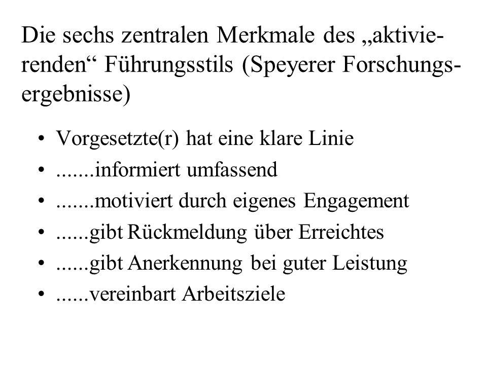 """Die sechs zentralen Merkmale des """"aktivie-renden Führungsstils (Speyerer Forschungs-ergebnisse)"""