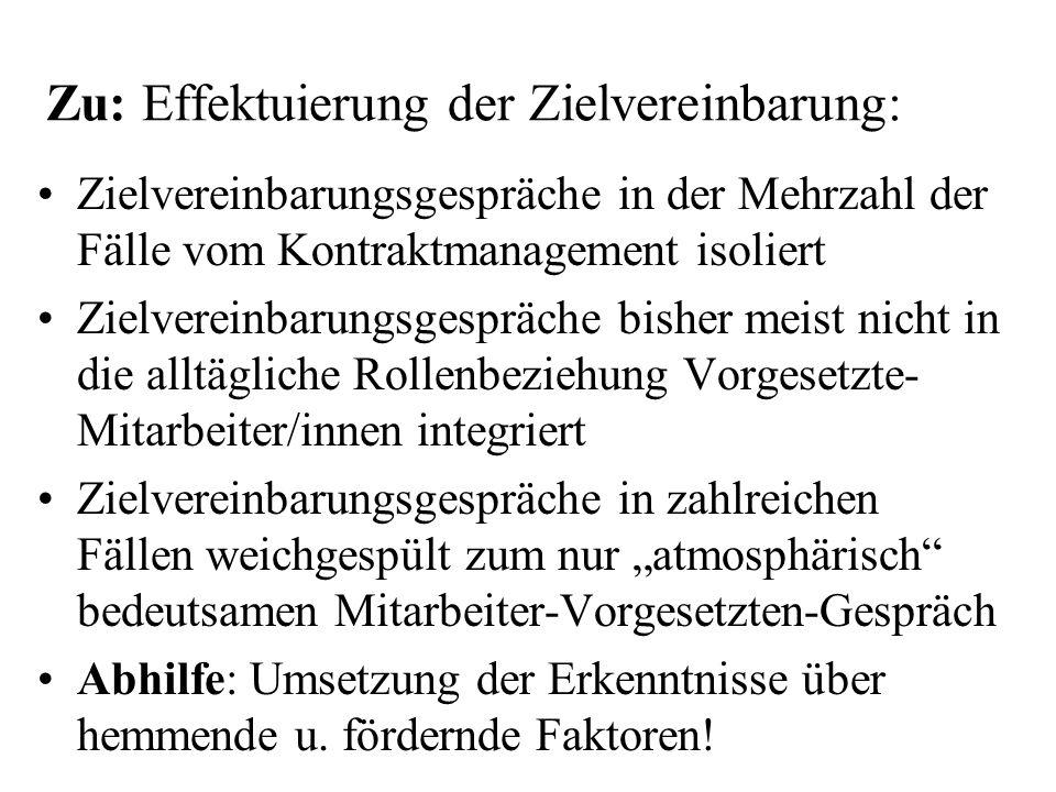 Zu: Effektuierung der Zielvereinbarung: