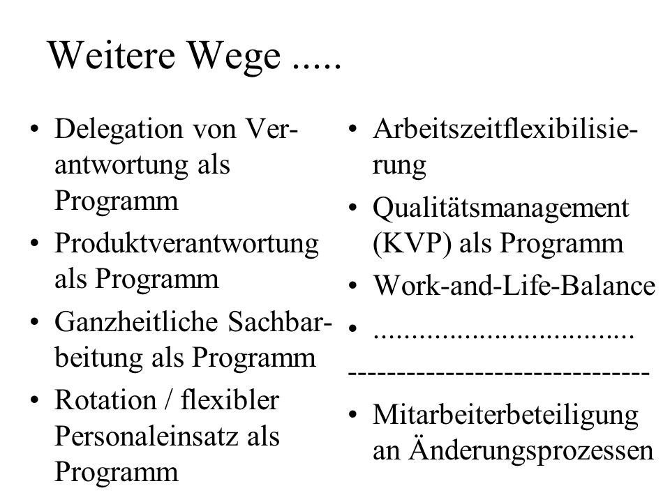 Weitere Wege ..... Delegation von Ver-antwortung als Programm