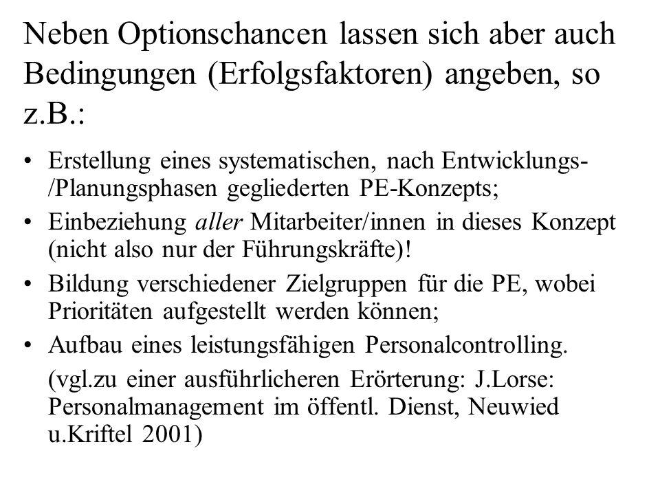 Neben Optionschancen lassen sich aber auch Bedingungen (Erfolgsfaktoren) angeben, so z.B.: