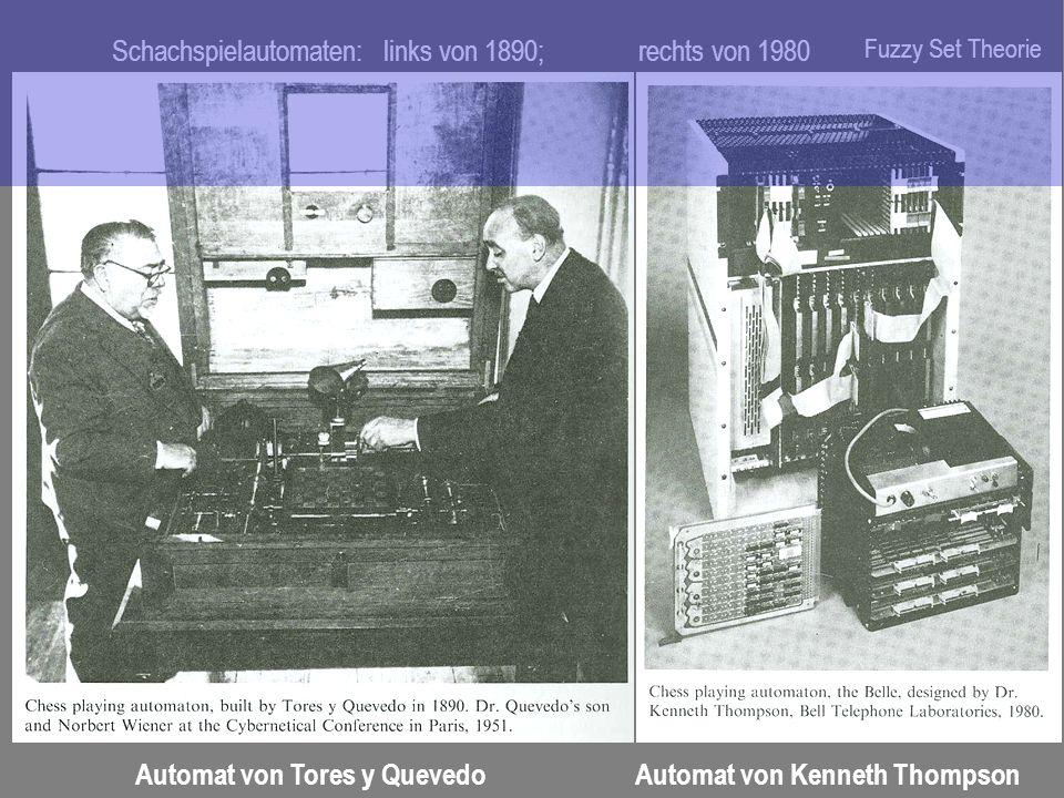 Schachspielautomaten: links von 1890; rechts von 1980