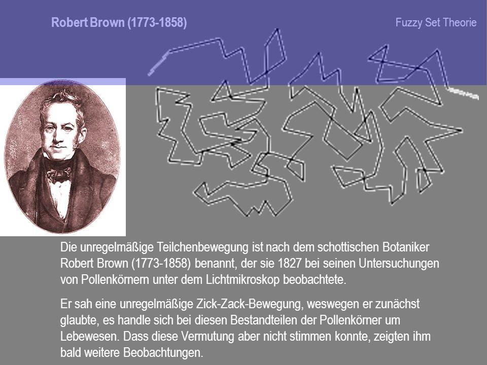 Robert Brown ( ) Fuzzy Set Theorie.