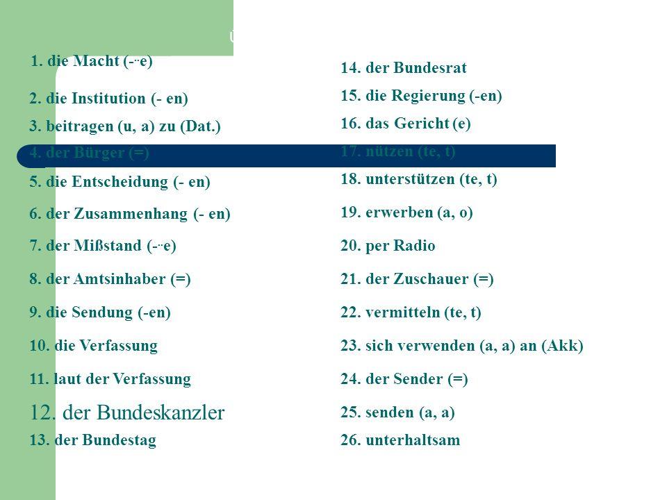 12. der Bundeskanzler 1. die Macht (-..e) 14. der Bundesrat