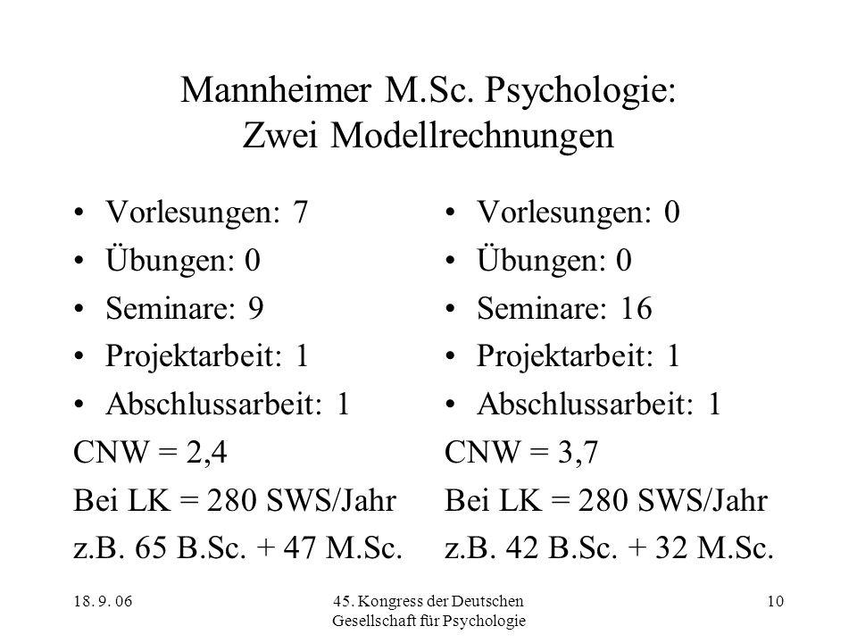 Mannheimer M.Sc. Psychologie: Zwei Modellrechnungen