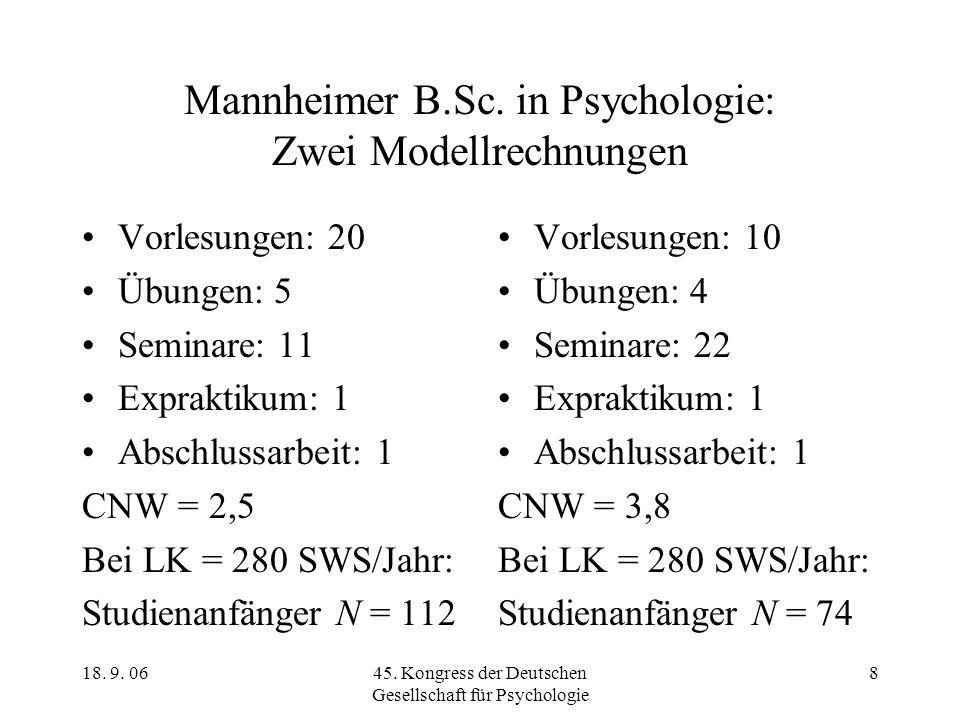 Mannheimer B.Sc. in Psychologie: Zwei Modellrechnungen