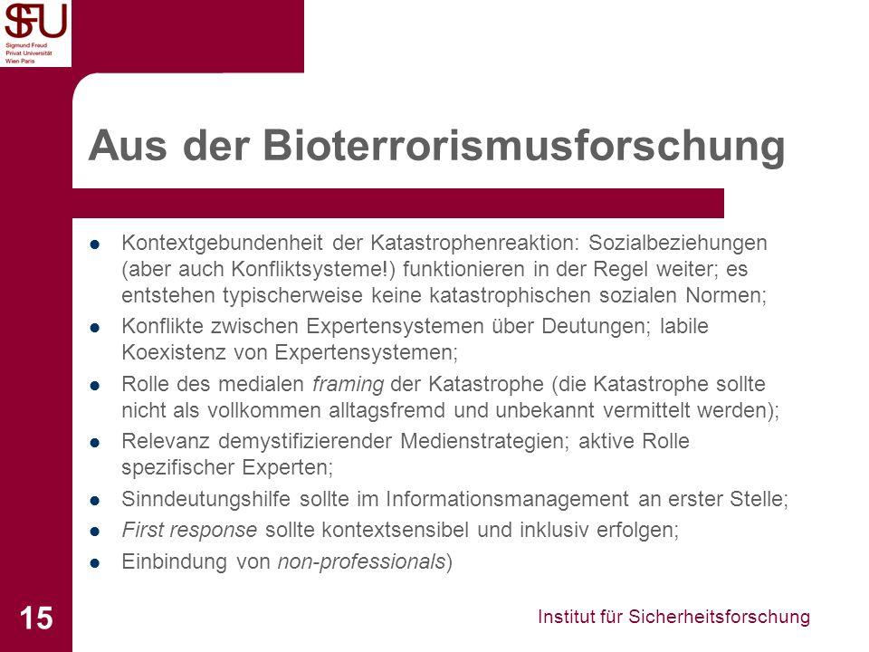 Aus der Bioterrorismusforschung
