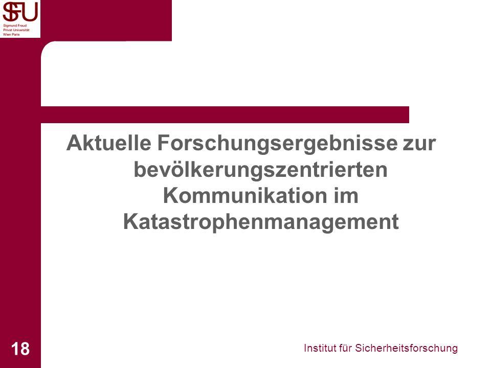 Aktuelle Forschungsergebnisse zur bevölkerungszentrierten Kommunikation im Katastrophenmanagement