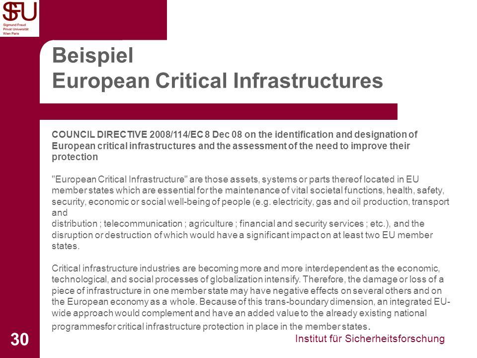 Beispiel European Critical Infrastructures