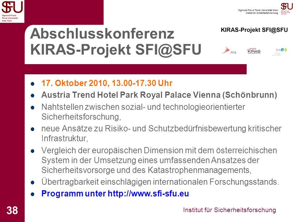 Abschlusskonferenz KIRAS-Projekt SFI@SFU