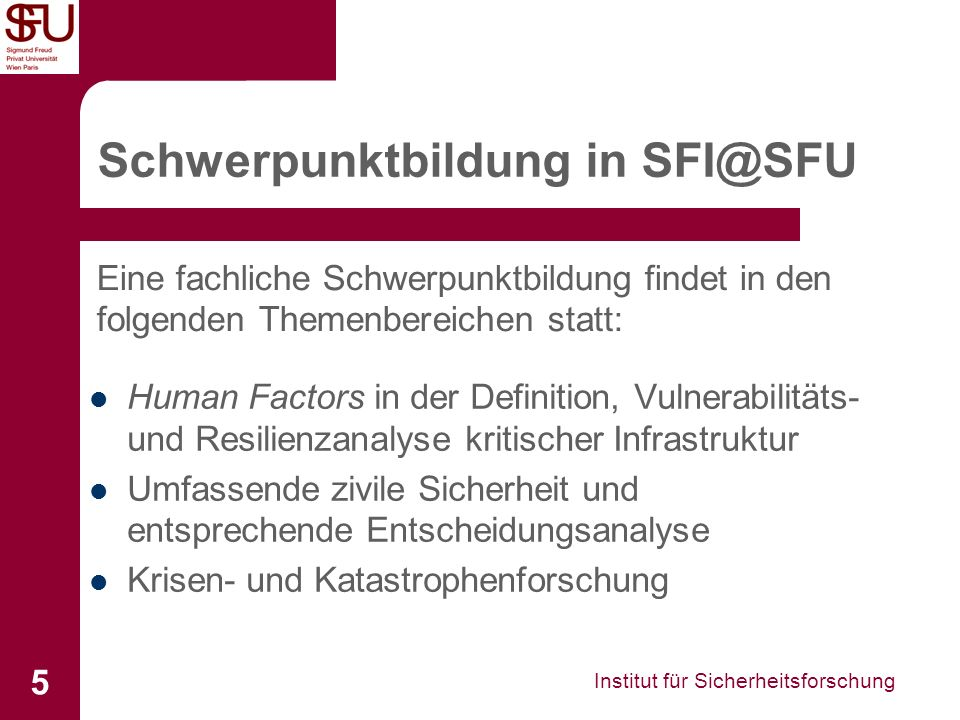 Schwerpunktbildung in SFI@SFU