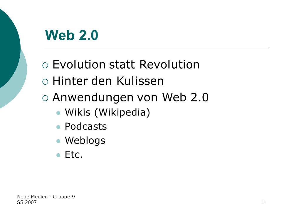Web 2.0 Evolution statt Revolution Hinter den Kulissen