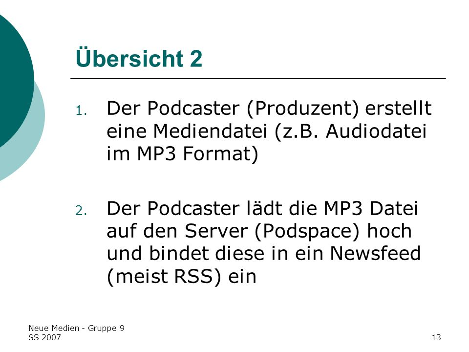 Übersicht 2Der Podcaster (Produzent) erstellt eine Mediendatei (z.B. Audiodatei im MP3 Format)