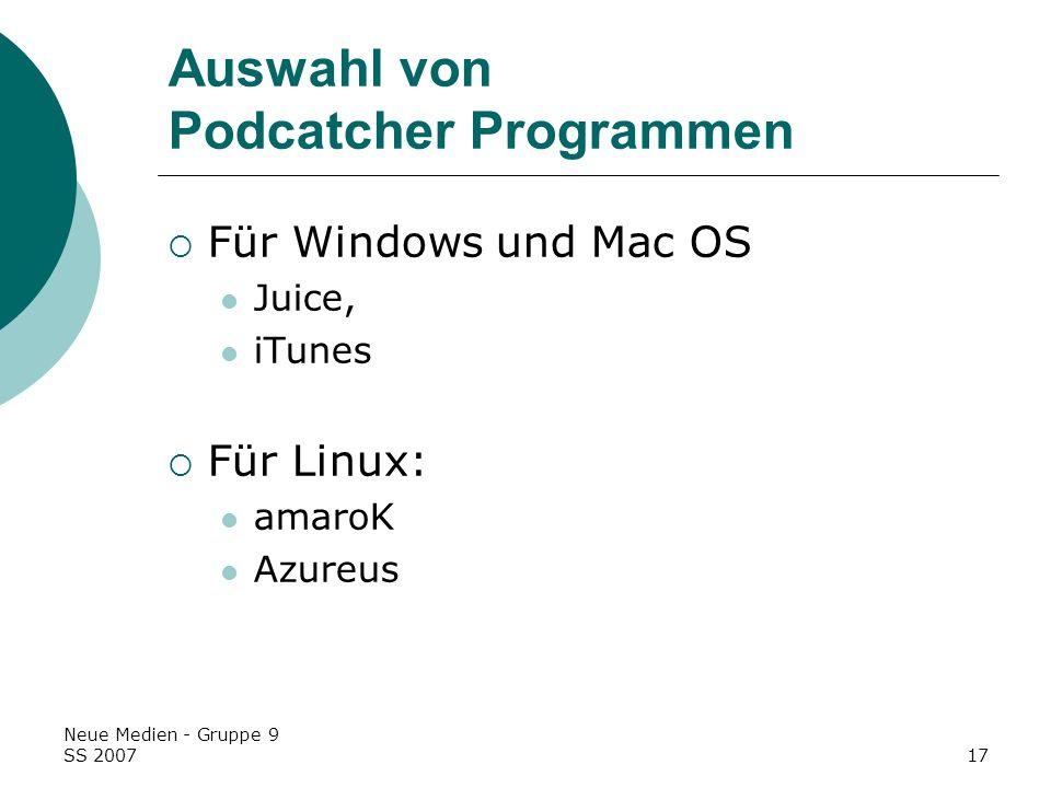 Auswahl von Podcatcher Programmen