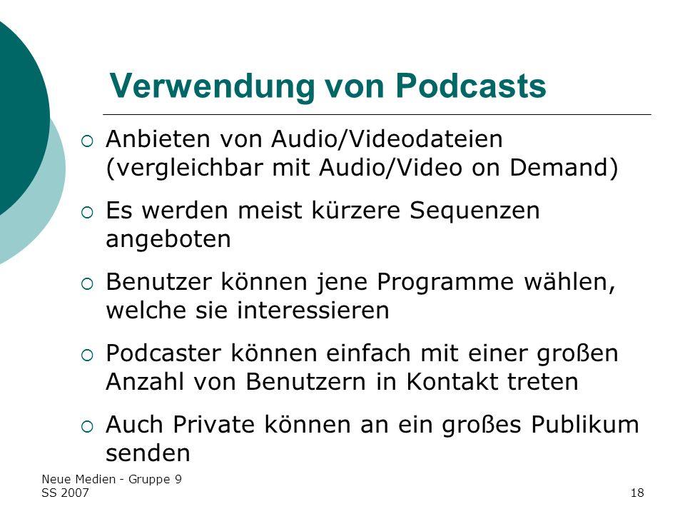 Verwendung von Podcasts