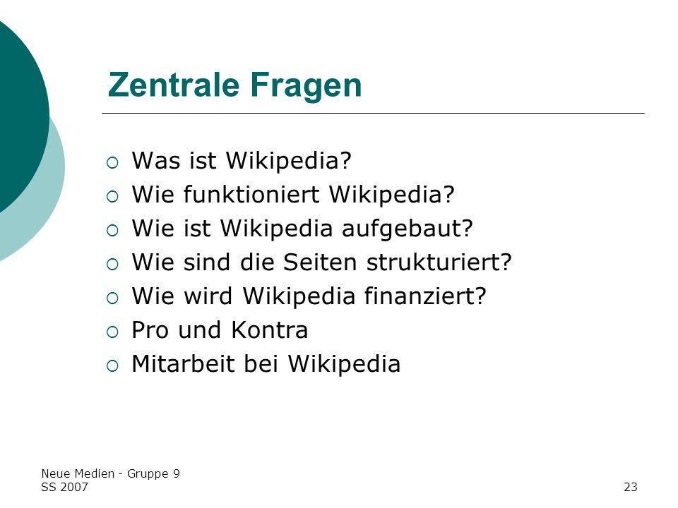 Zentrale Fragen Was ist Wikipedia Wie funktioniert Wikipedia