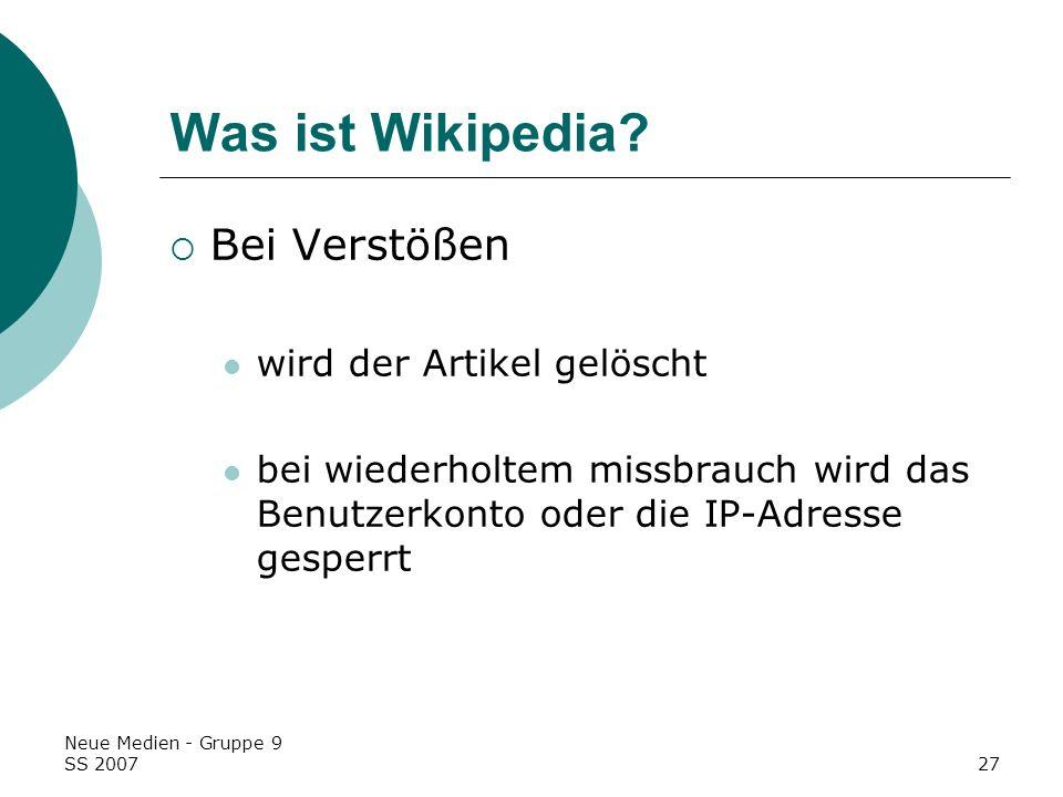 Was ist Wikipedia Bei Verstößen wird der Artikel gelöscht