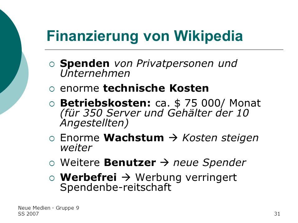 Finanzierung von Wikipedia