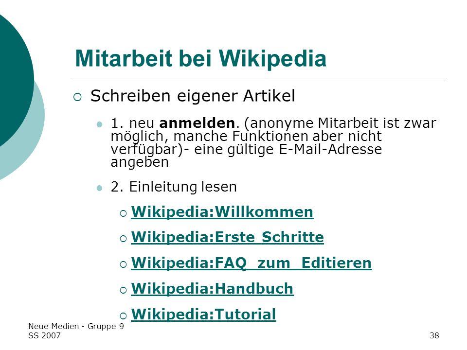 Mitarbeit bei Wikipedia