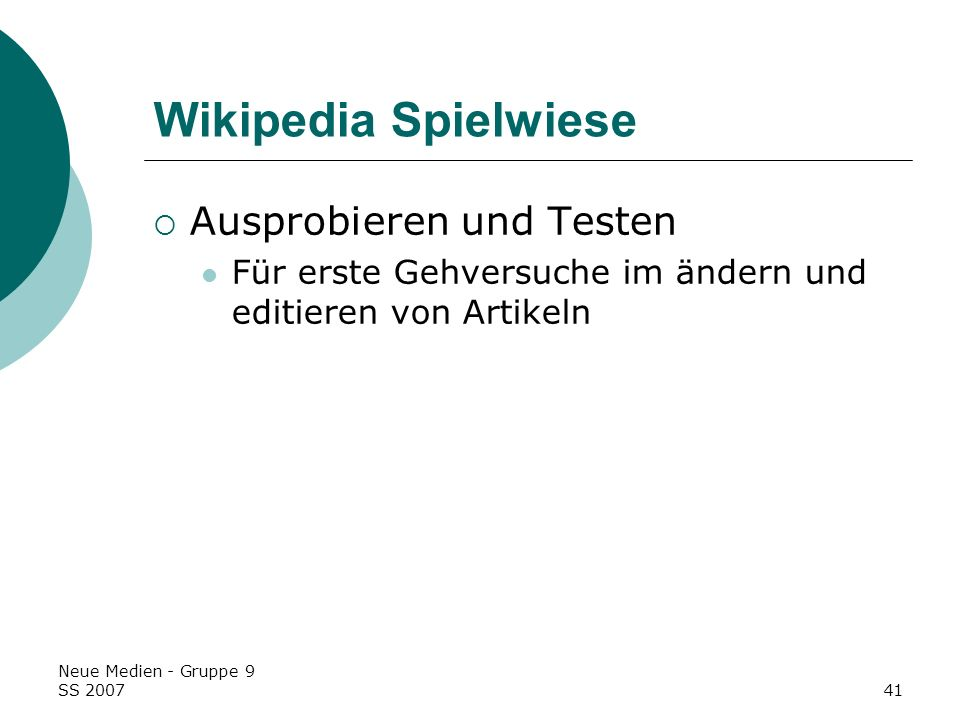 Wikipedia Spielwiese Ausprobieren und Testen