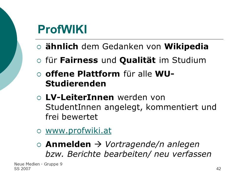 ProfWIKI ähnlich dem Gedanken von Wikipedia